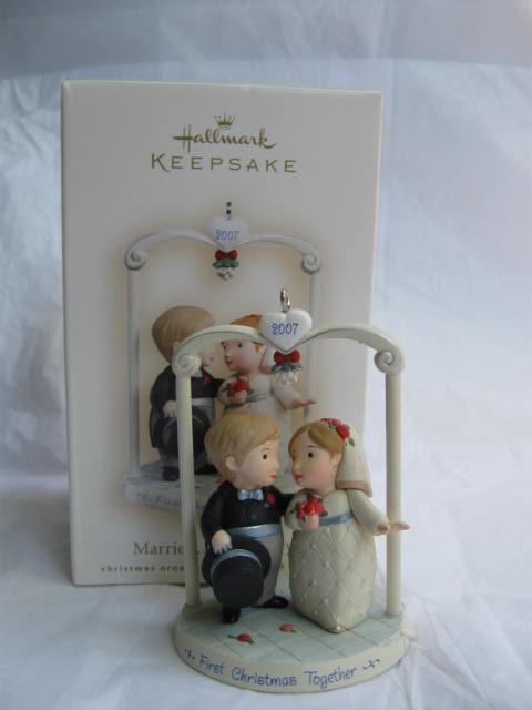 Hallmark 2007 Married & Merry Wedding Cake Topper Ornament