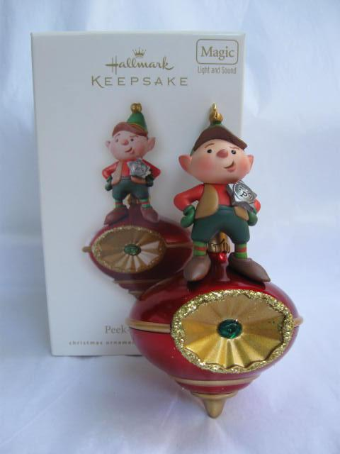 Hallmark 2008 Elf Peek Buster Magic Light & Sound With Motion Sensor No Peeking Christmas Ornament Peekbuster