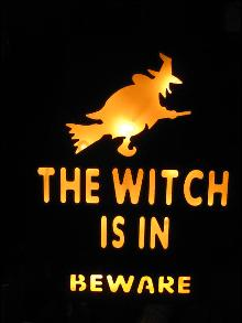 Halloween The Witch Is In Metal Lighted Sign