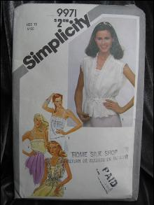 Vintage Simplicity 9971 Sexy  Misses' Pullover Camisoles & Unlined Jackets Sewing Pattern Size 12