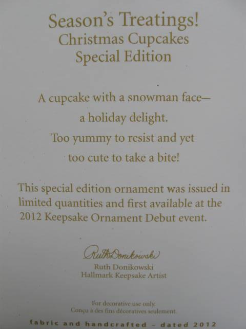Hallmark 2012 Season's Treatings Special   Limited Quantity Edition  Christmas Tree Ornament