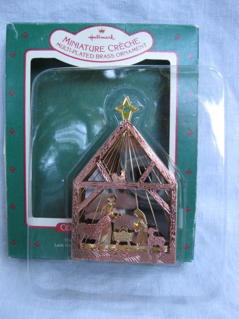 Hallmark 1987 Miniature Creche Nativity #3 In Miniature Creche Series Multi-plated Brass Christmas Tree Ornament
