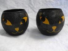 2 Glass Black Cat Tealight Candle Holders Glitter Finish
