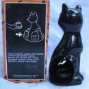 Vintage Kmart Ceramic Halloween Black Cat With Jack O Lantern Tea Light Candle Holder.