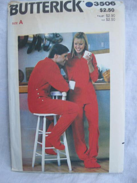 New Vintage Butterick 3506 Unisex  Footed Pajamas  Sewing Pattern Size A  S - M - L   All Sizes Misses' & Men's