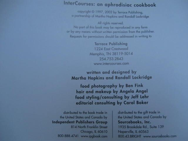 InterCourses An Aphrodisiac Cookbook  First Edition