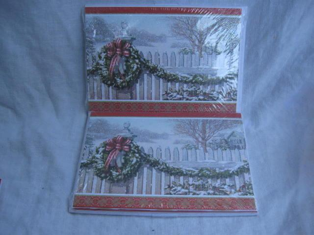 50 Hallmark Christmas Greeting Cards White Picket Fence In Sealed Package