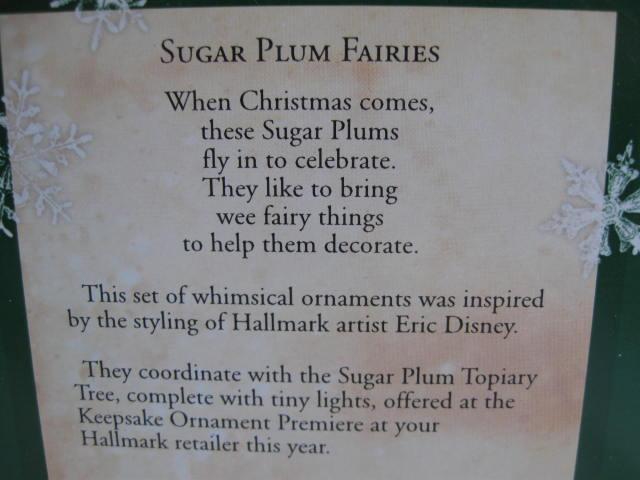 Hallmark 2002 Sugar Plum Fairies Set Of 6 Miniature Feather Tree Christmas Tree Ornaments