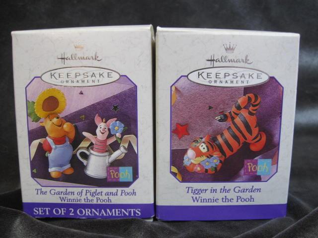 Lot Of 2 Hallmark 1998 The Garden of Piglet & Pooh + Tigger In The Garden Christmas Tree Ornaments