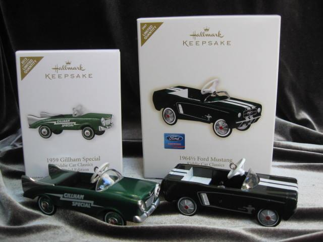 Hallmark 2007 & 2012  1964 1/2 Ford Mustang & 1959 Gillham Special  Lot of 2 Kiddie Car Classics Special  Limited Edition Repaint  Christmas Tree Ornaments