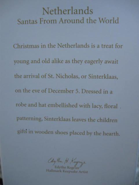 Hallmark 2012 Netherlands Santa's From Around The World Limited Quantity Koc Club Christmas Tree Ornament