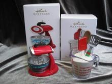 Hallmark 2012 The Merry Is In The Making! & 2010 Merry Mixer Kitchen Cook Cooking Lot  Of 2 Christmas Tree Ornament