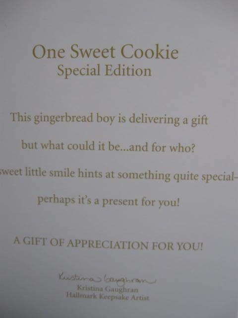 Hallmark 2012 One Sweet Cookie  Ginger Bread Man Special Limited Quantity Editon Christmas Tree Ornament