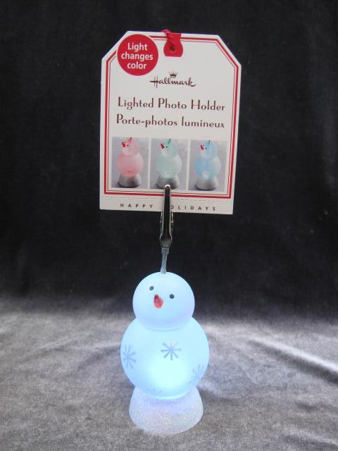 Hallmark 2007 Lighted Snowman Photo Or Recipe Card Holder + Holiday Christmas Recipe Box With Recipes