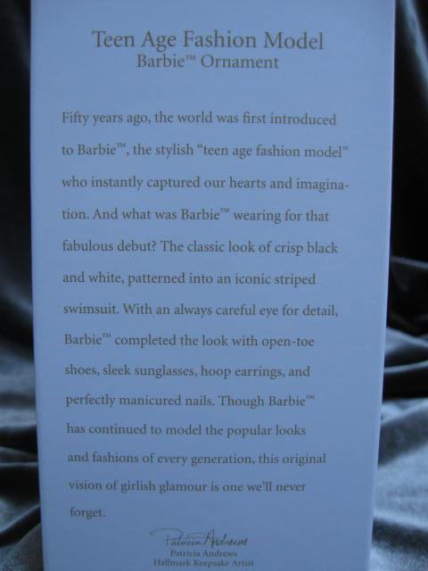 Hallmark 2009  Teenage Teen Age Fashion Model Barbie Swimsuit Christmas Ornament