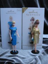 Hallmark 2006 Evening Splendor Barbie & 2008 Club Meeting  Lot Of 2 Barbie Christmas Tree  Ornaments