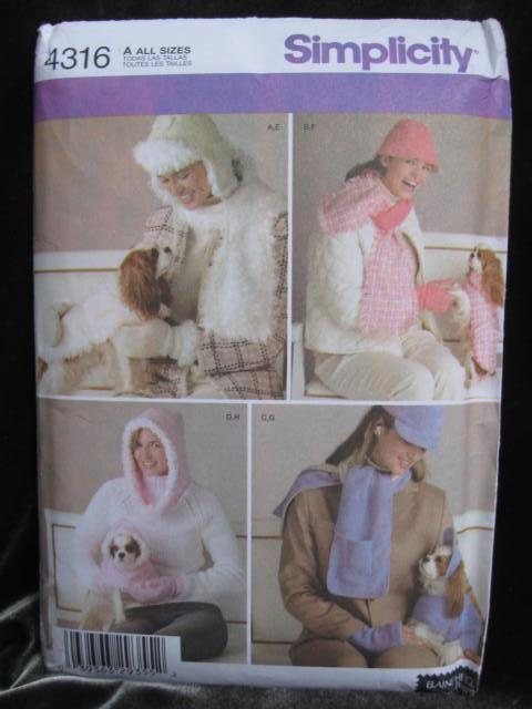 Simplicity Crafts 4316  Dog & Ladies Matching Hat & Scafs Outfits Sewing Pattern