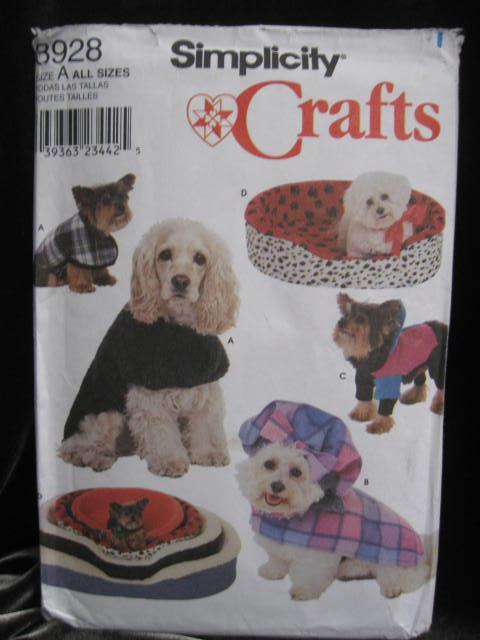Simplicity Crafts 8928  Dog Clothes Coat & Bed Sewing Pattern
