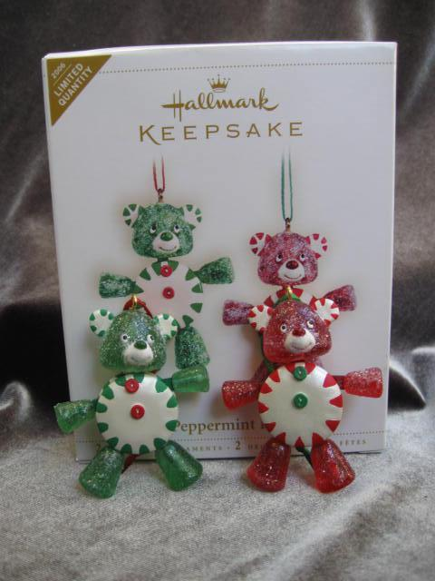 Hallmark 2006 PEPPERMINT PALS Set of 2 Peppermint  Candy Teddy Bears Christmas Tree   Ornaments