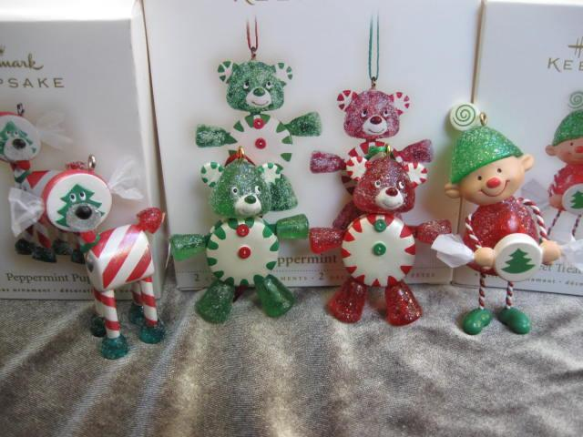 Hallmark 2006 2007 2008 Peppermint Pals Pup & Sweet Treat Elf Lot of 3 Christmas Tree Ornaments