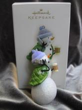 Hallmark 2008 Snow On The Go Snowgirl Cell Phone & Coffee Christmas Tree Ornament
