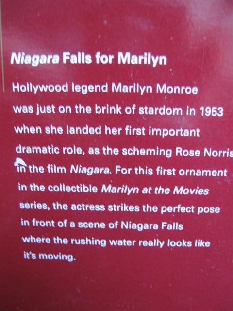 Niagara  Falls For Marilyn 1st In Series Marilyn Monroe  2005 Carlton Heirloom Ornament