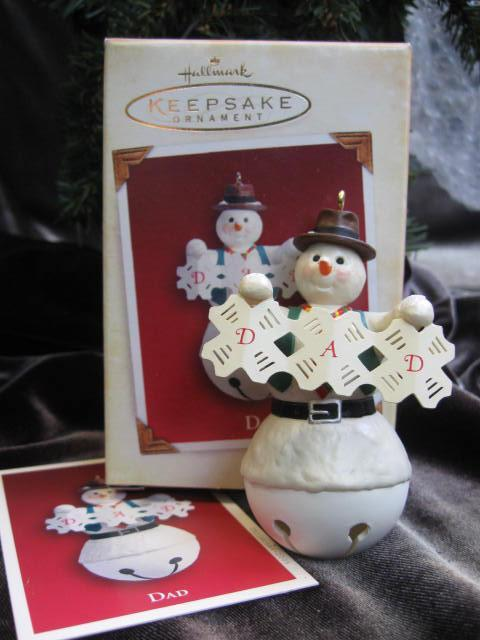 Hallmark 2005 Dad or Father & Son Snowman  Snowboy Lot Of 2  Christmas Tree Ornaments