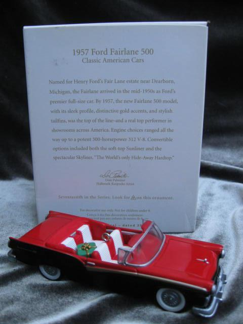 Hallmark 2007 1957 Ford Fairlane 500 #17 In Classic American Cars Series   Christmas Tree Ornament