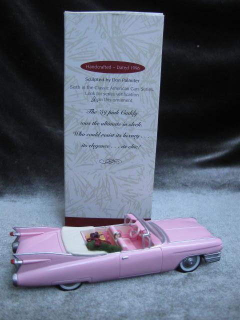 Hallmark 1996 1959 Cadillac De Ville #6 In Classic American Cars Series   Christmas Tree Ornament Pink Cadillac