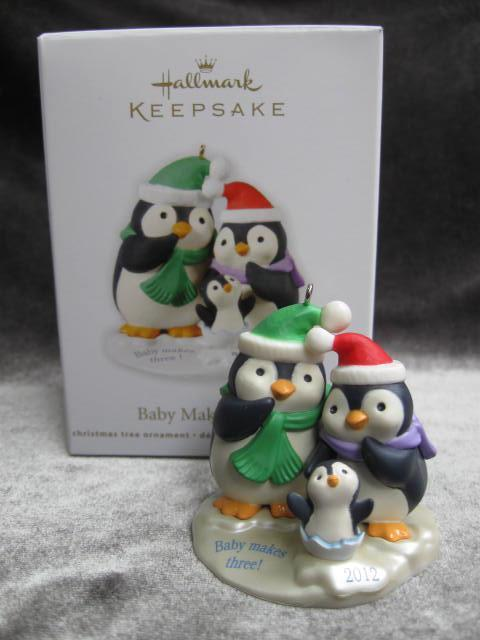 Hallmark 2012 Baby Makes Three Penguins Christmas  Tree Ornament