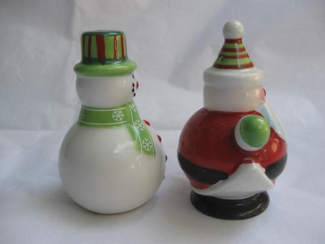 Santa Claus & Snowman Winter or Christmas Salt & Pepper Shakers S/P