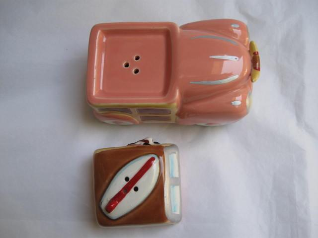 Vintage Cow Surfer In Woody With Surf Board Vandor 1988  Salt & Pepper Shakers S/P  Cowabunga Dude!
