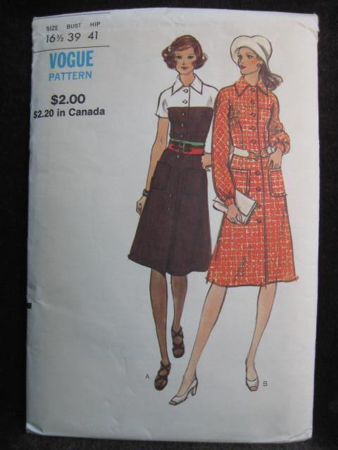 New Vintage Vogue 8209 Misses'   & Half Size Semi Fitted Dress Sewing Pattern  Size 16 1/2