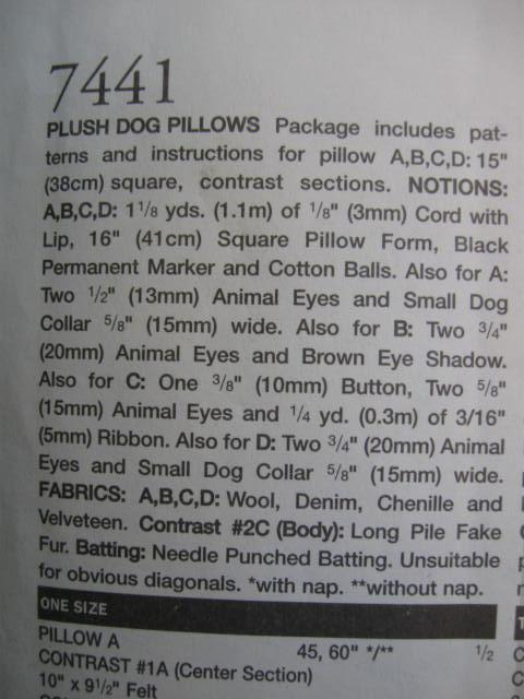 New Vogue 7441 Plush Dog Pillow Sewing Pattern  OOP