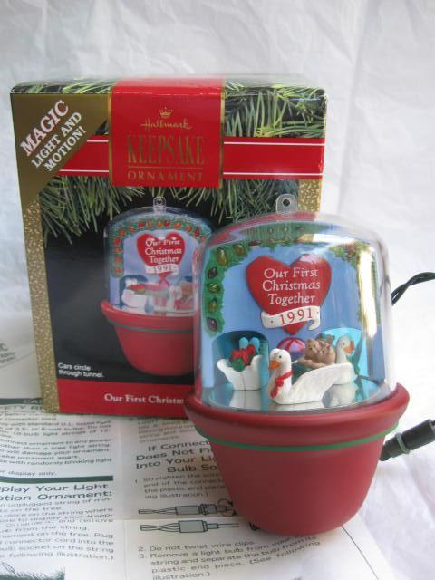 Hallmark 1991 Our First Christmas Together Tunnel Of Love Magic Light & Motion Christmas Tree Ornament
