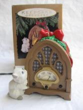Hallmark 1993 Radio News Flash With Cat  Magic  Light & Sound  Christmas Tree Ornament