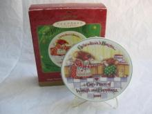 Hallmark 2000 Grandma's House Collector's Plate Mice Christmas Tree Ornament