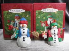 Hallmark 2001 Mom & Dad  Snowman Lot Of 2  Christmas Tree Ornament