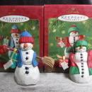 Hallmark 2001 Mom & Dad  Snowman Lot Of 2  Christmas Tree Ornament