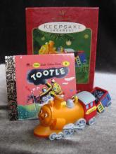 Hallmark 2001 Tootle The Train Ornament  With The Little Golden Book Lot of 2