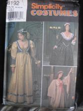 New Simplicity 8192 Misses'  Italian  Renaissance Medieval Juliet Halloween Costume Sewing Pattern  Size N 10,12,14