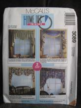 New McCall's 3089 Home Dec In A Sec Window Treatments Sewing Pattern