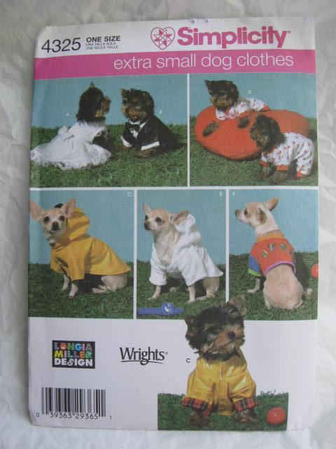 Simplicity 4325 Dog Clothes Wedding Dress Tuxedo Raincoat + More For Extra Small Dogs Sewing Pattern OOP