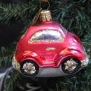 Red Bug Beatle Volkswagen Glass Car Ornament