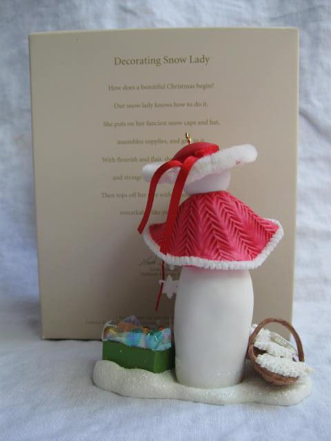 Hallmark 2007 Decorating Snow Lady Club Exclusive Christmas Tree Ornament
