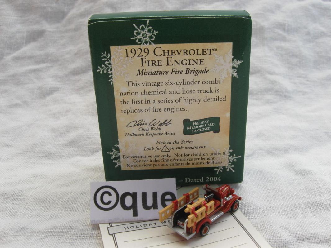 Hallmark 2004 1929 Chevrolet Fire Engine Miniature #1 1st In Fire Brigade Series  Christmas Feather Tree Ornament