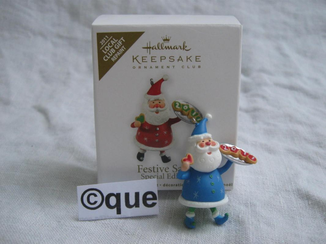 Hallmark 2011 Festive Santa Local Club Repaint Miniature Christmas Ornament