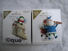 Hallmark 2010 So Cute In A Boot & 2011 Festive Santa Local Club Repaint Miniature Christmas Ornaments Lot of 2