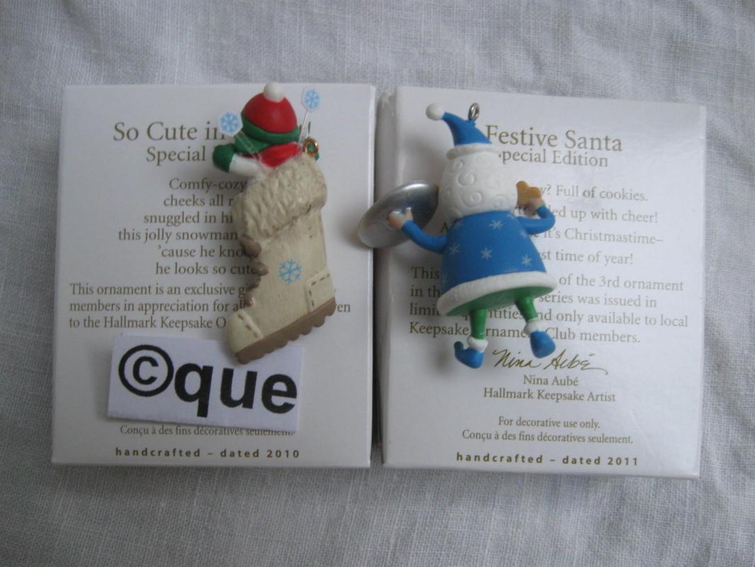 Hallmark 2010 So Cute In A Boot & 2011 Festive Santa Local Club Repaint Miniature Christmas Ornaments Lot of 2