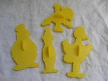 Four  Vintage Sesame Street Cookie Cutters Yellow Big Bird  + More